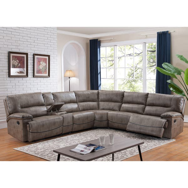 Shop Donovan Sectional Sofa with 3 Reclining Seats - Free ...