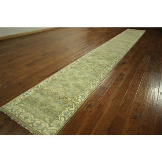 H3111 Grey Long Antiqued Turkish Oushak Hand-knotted Wool Runner (2'6' x 19'9)