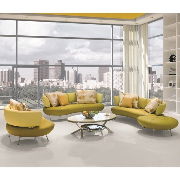 Delightful ... Adelina 4 Piece Modern Top Grain Leather Sofa Set ...