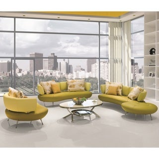 Adelina 4-Piece Modern Top Grain Leather Sofa Set (2 options available)