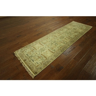 H3199 Ivory Veg Dyed Oushak Wool Hand-knotted Runner (2'6 x 8')