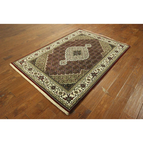 Hand Knotted Persian Tabriz Wool Area Rug Ebth: Shop H5135 Oriental Hand-knotted Wool-Silk Persian