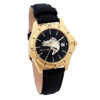 Men's Black Leather and Goldtone Walleye Watch