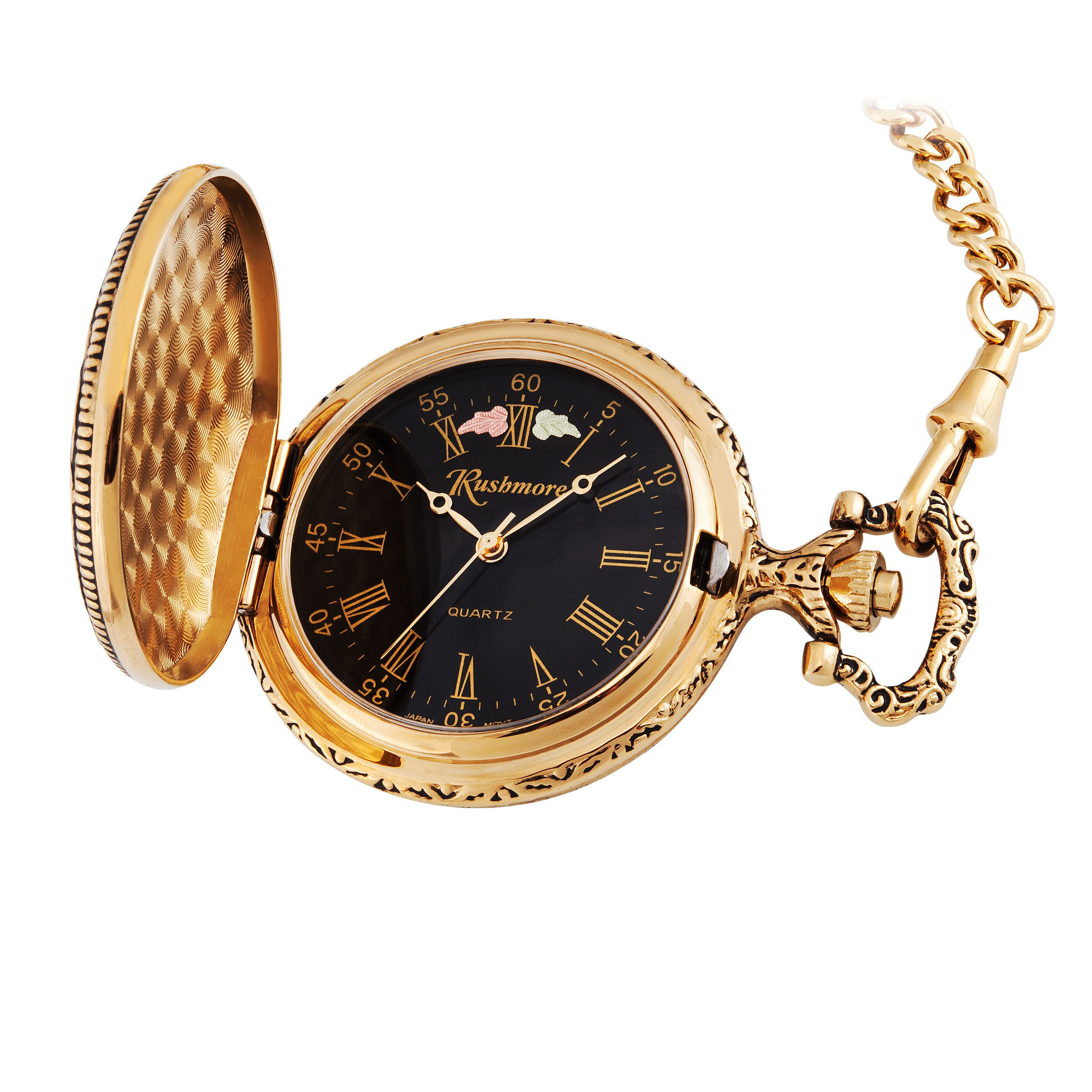 Mens Black Hills Gold Eagle Pocket Watch (Eagle), Size On...