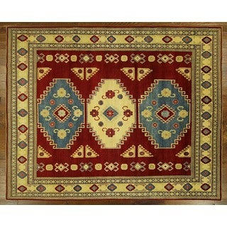 H7449 Amulet Motif Geometric Red Super Kazak Hand-knotted Wool Area Rug (9' x 11')