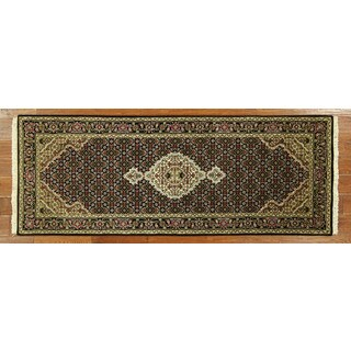 H5292 Hand-knotted Tabriz Fish Design Wool and Silk Black Oriental Rug (3' x 7')