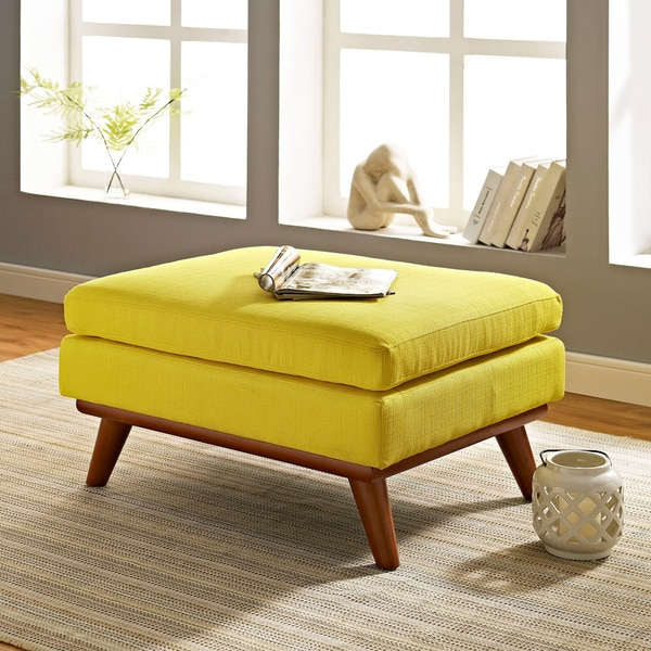 Engage Mid Century Fabric Ottoman Free Shipping Today