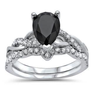 Noori Certified 14k Gold 1 3/5ct TDW Pear Shape Black Diamond Engagement Ring Bridal Set