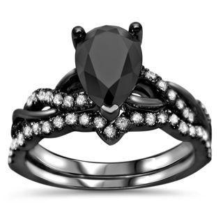 Noori Certified 14k Black Gold 1 3/5ct TDW Pear Shape Black Diamond Engagement Ring Bridal Set
