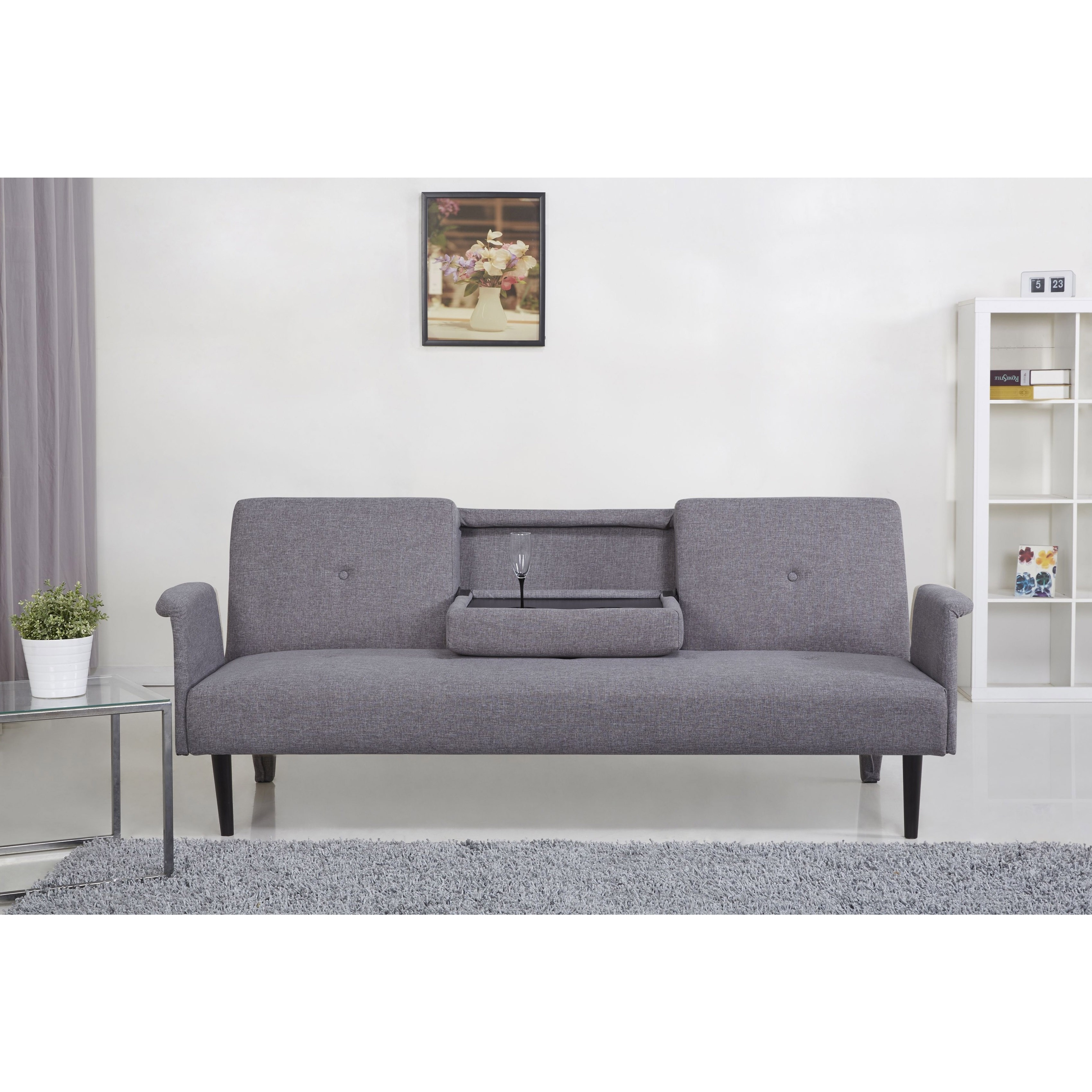 Gold Sparrow Cambridge Ash Convertible Sofa Bed, Grey