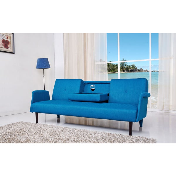 Shop Cambridge Blue Convertible Sofa Bed Free Shipping