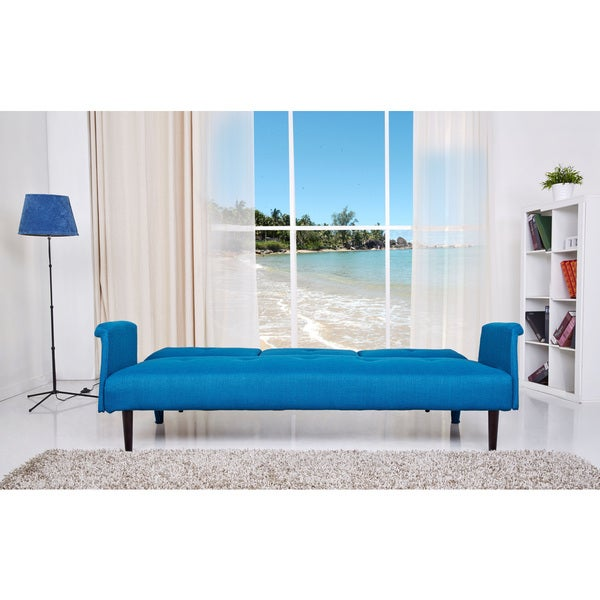 primo ara convertible futon sofa bed with storage full size blue jennifer queen