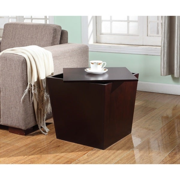 Alpes Multifunction Espresso Wood Storage Cube End Table