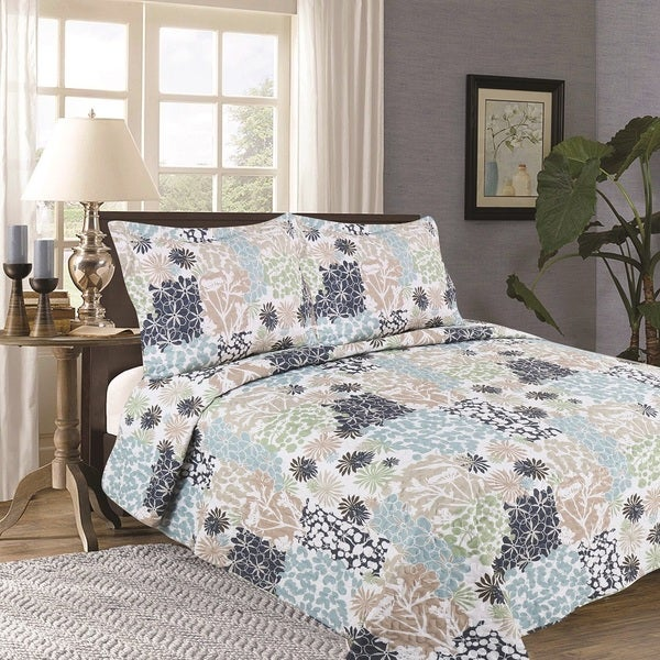 Home Fashion Designs Flora Collection 3-Piece Printed Quilt Set with Shams