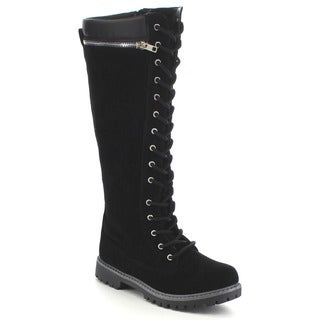 ANNA DALLAS-18 Women's Combat Lace-up Zip Knee High Winter Boots