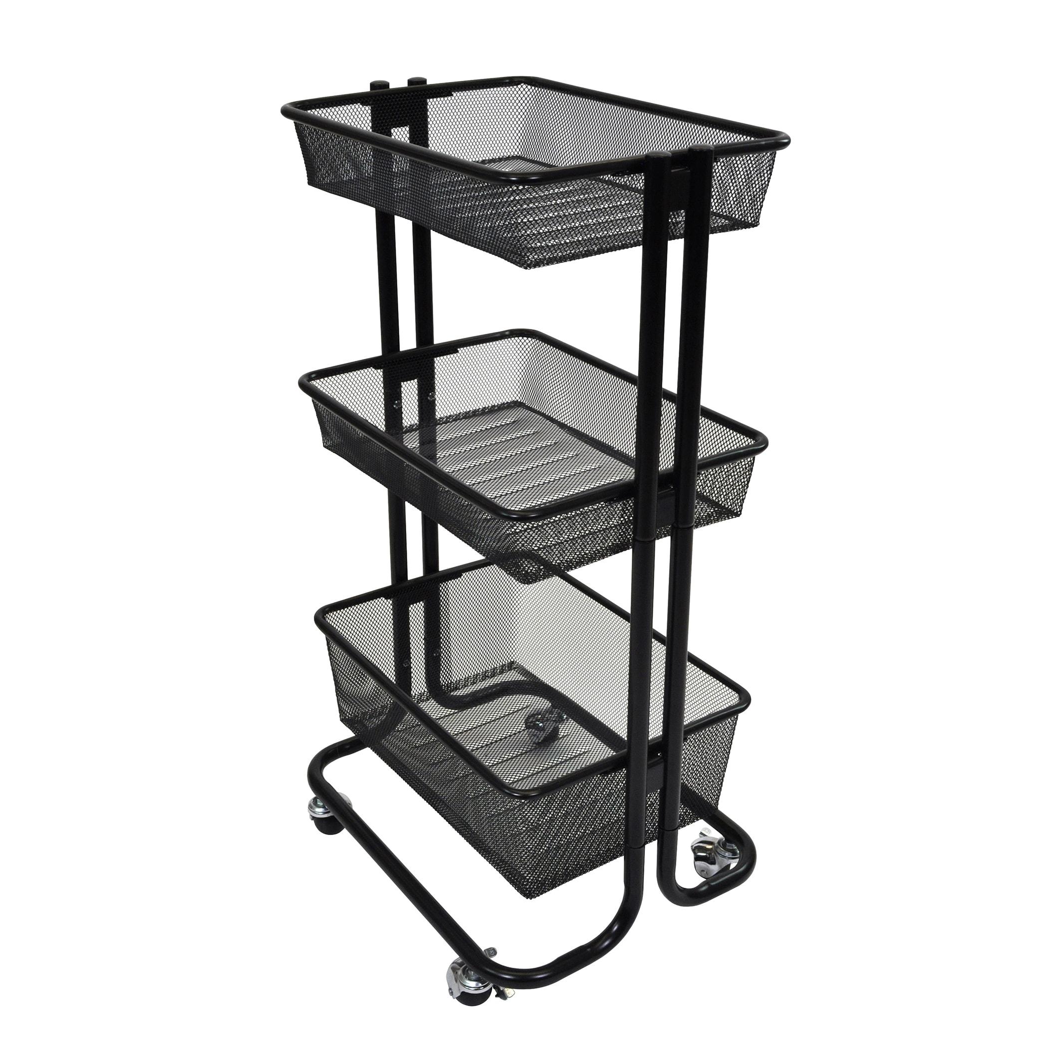 3 Shelves Home Office Classroom Kitchen Storage Multipurpose Utility Cart  Black