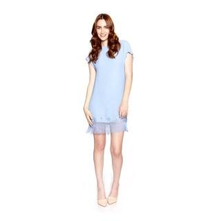 Cynthia Vincent Women's Blue Fringe Shift Dress