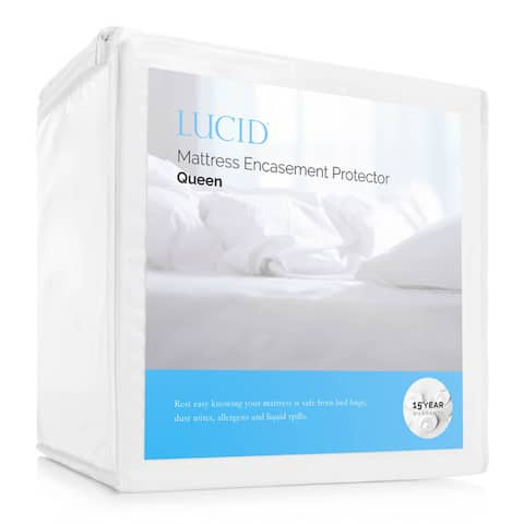 LUCID Comfort Collection Bed Bug and Waterproof Mattress Encasement Protector - White