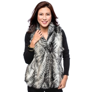 Women's Animal Fur Hook and Eye Vest
