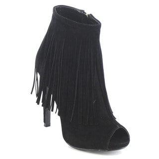 Shake Collection Francine Women's Peep Toe Fringe Stiletto Booties