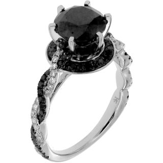 10k White Gold 2 1/2ct TDW Black and White Diamond Ring