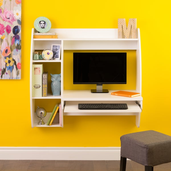 White Floating Desk With Storage And Keyboard Tray   Free Shipping Today    Overstock.com   17897673