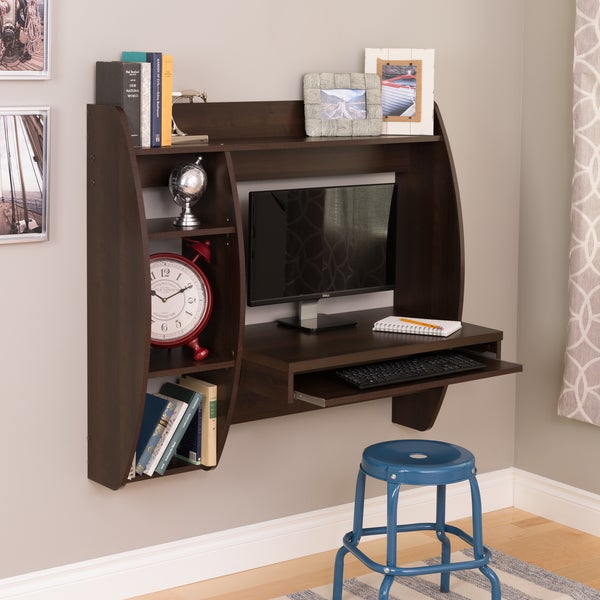 Everett Espresso Floating Desk With Storage And Keyboard