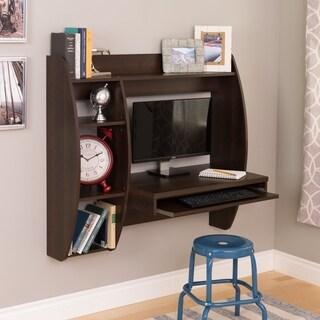 Everett Espresso Floating Desk with Storage and Keyboard Tray