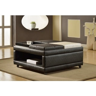 Loire Open Shelf Ottoman with 4 Flip Top Trays, Espresso and White