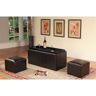 Espresso Bonded Leather Storage Coffeetable with 2 Ottomans