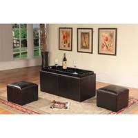Clay Alder Home Clark Espresso Bonded Leather Storage Coffeetable with 2 Ottomans