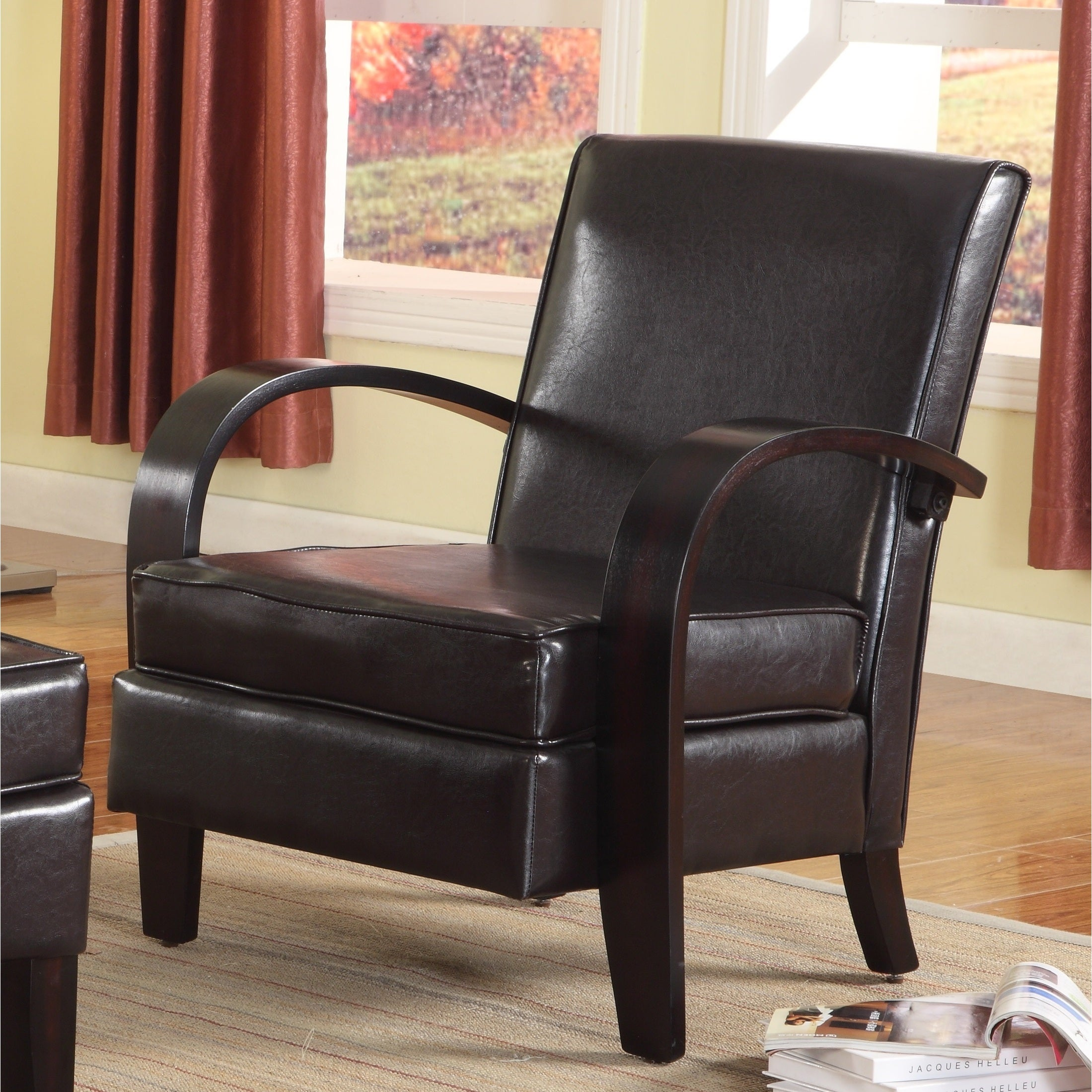 Wonda Brown Bonded Leather Accent Chair with Wood Arms (B...