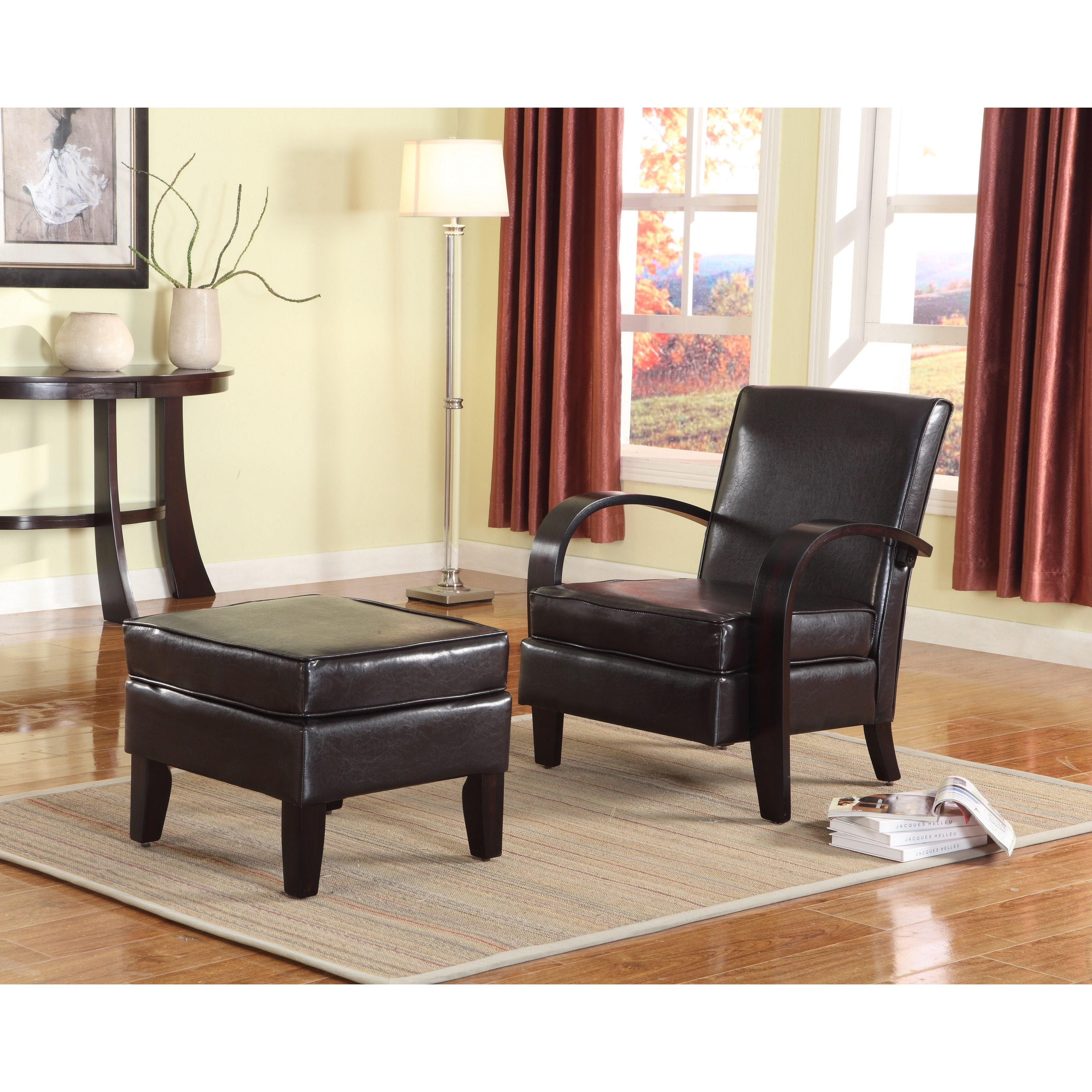 Shop Wonda Brown Bonded Leather Accent Arm Chair With