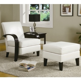 Charming Wonda White Bonded Leather Accent Arm Chair With Ottoman https://ak1. Nice Ideas
