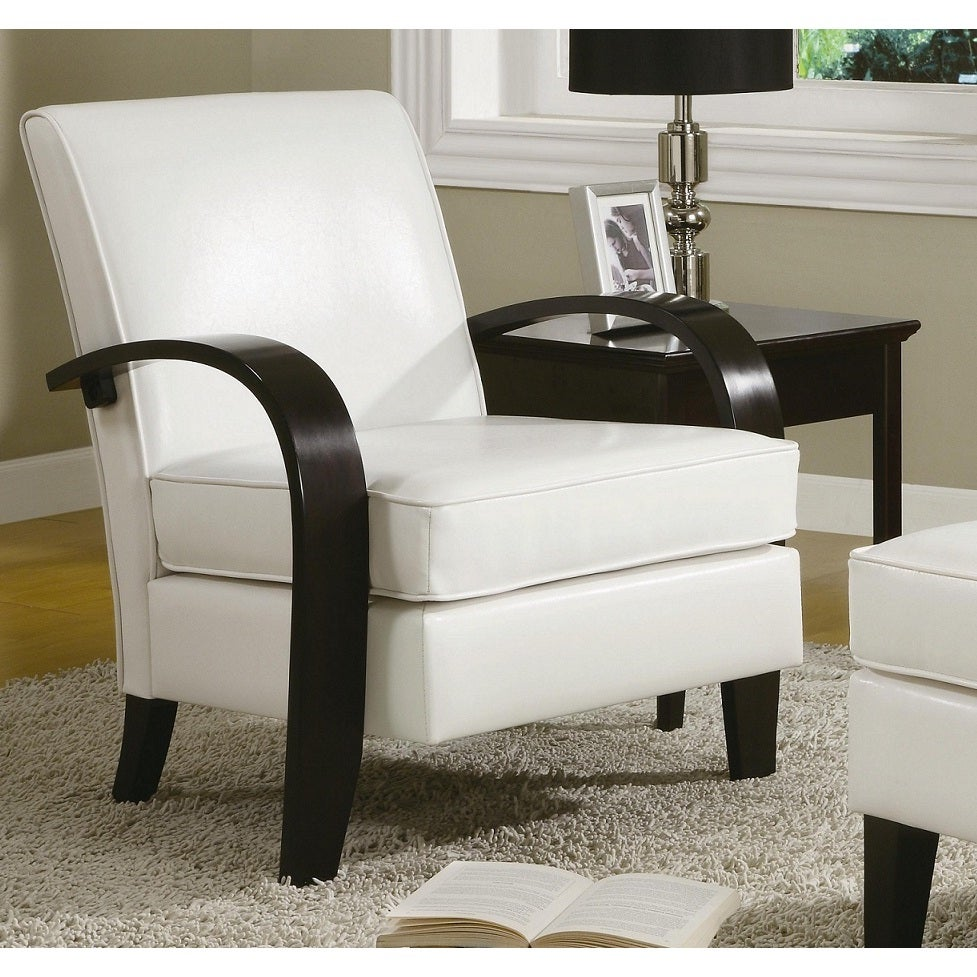 Unbranded Wonda White Bonded Leather Accent Chair with Wo...