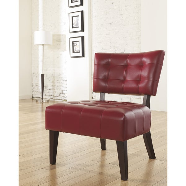 Shop Anjotiya Faux Leather Tufted Accent Chair With