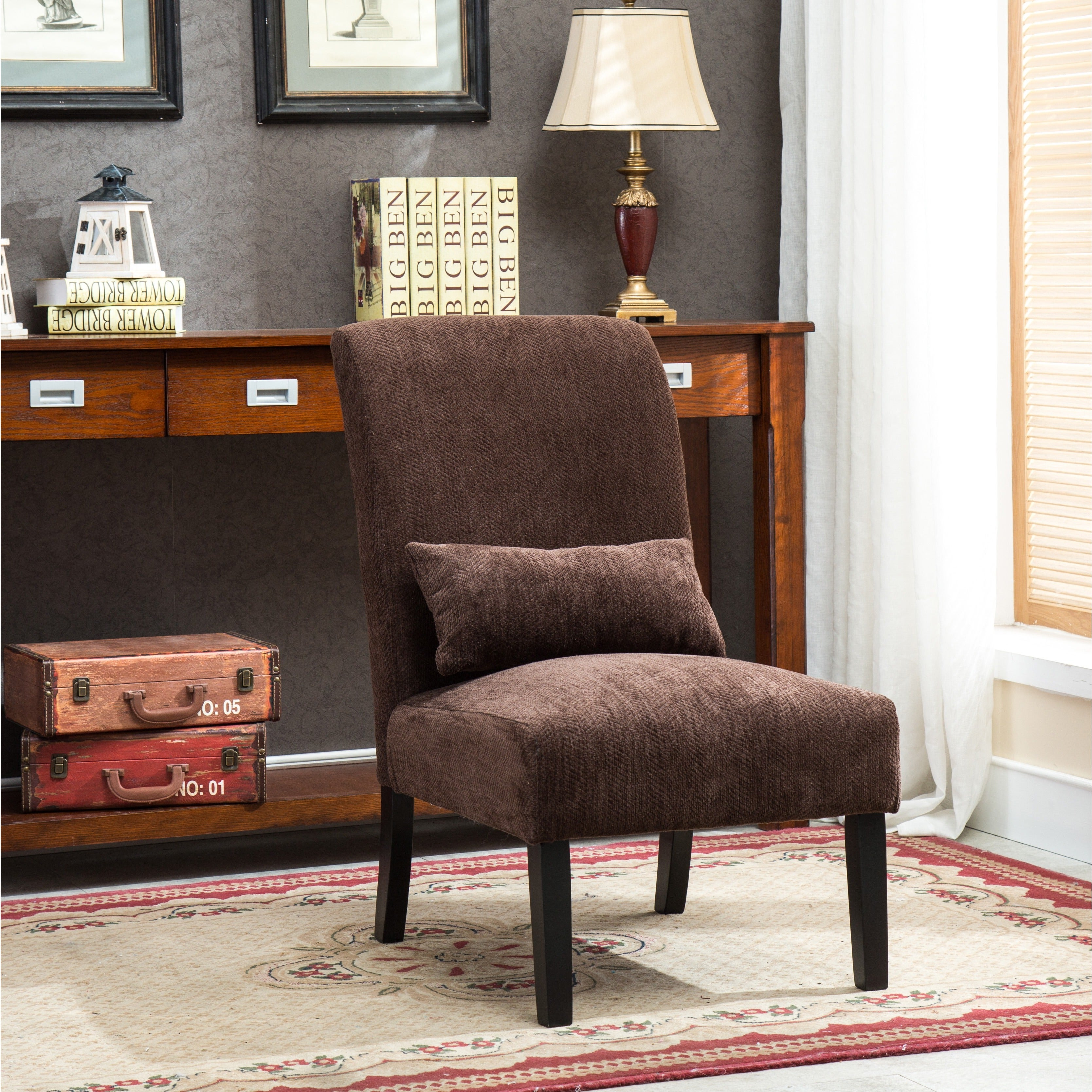 Pisano chenille Fabric Armless Contemporary Accent Chair ...