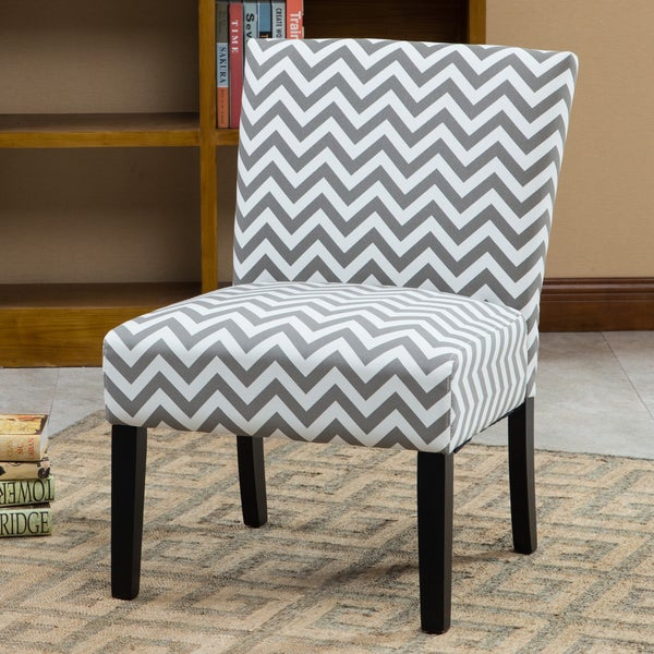 Botticelli Grey Wave Print Fabric Armless Contemporary Accent Chair