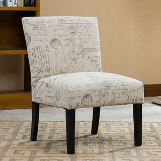 Botticelli English Letter Print Fabric Armless Accent Chair