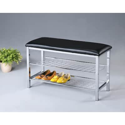 Metal Shoe Bench with Faux Leather Seat, Chrome and Black