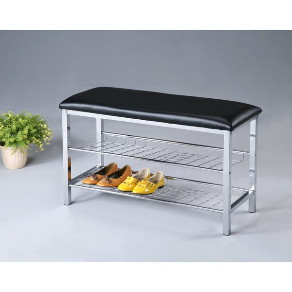 Metal Shoe Bench With Faux Leather Seat Chrome And Black