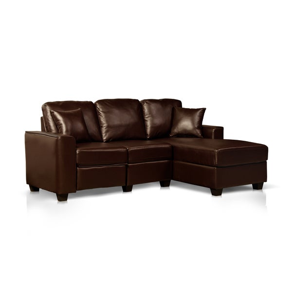 Faux Leather Recliner and Storage Chaise Sofa Free Shipping