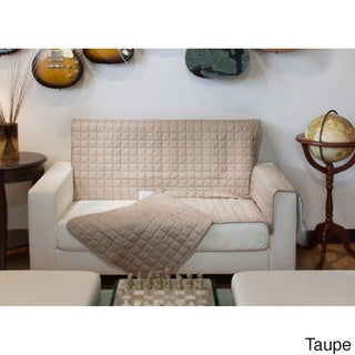 Two-Piece Button Design Love Seat Furniture Protector - loveseat (Taupe)