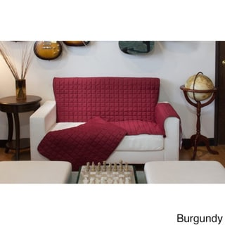 Two-Piece Button Design Love Seat Furniture Protector - loveseat (Burgundy)