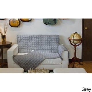 Two-Piece Button Design Love Seat Furniture Protector - loveseat (Grey)