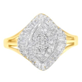 10k Yellow Gold 1/2ct TDW Round and  Baguette Diamond Cut Ring (J-K,I2-I3)
