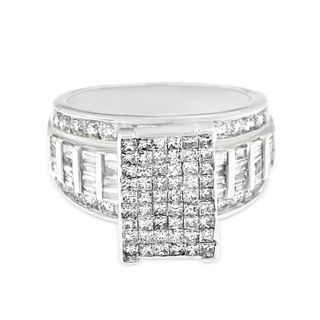 14k White Gold 2ct TDW Round, Baguette and Princess-cut Pave Diamond Ring