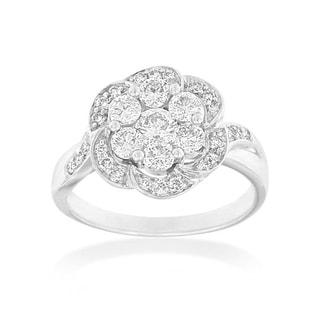 14k White Gold 1 CTTW Floral Vintage Diamond Ring (H-I, I1-I2)