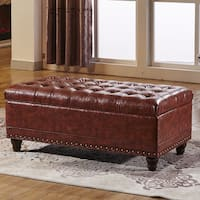 Classic Tufted Storage Bench Ottoman with nailhead trim and twin Hydraulic Hinges