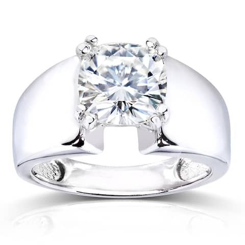 Annello by Kobelli 14k White Gold 2ct Solitaire Forever One Moissanite Cushion-cut Wide Flared Engagement Ring (DEF/VS)